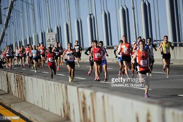 Runners cross the Verrazano Bridge at the start of the New York City Marathon in New York November 6 2011 AFP PHOTO/Emmanuel Dunand