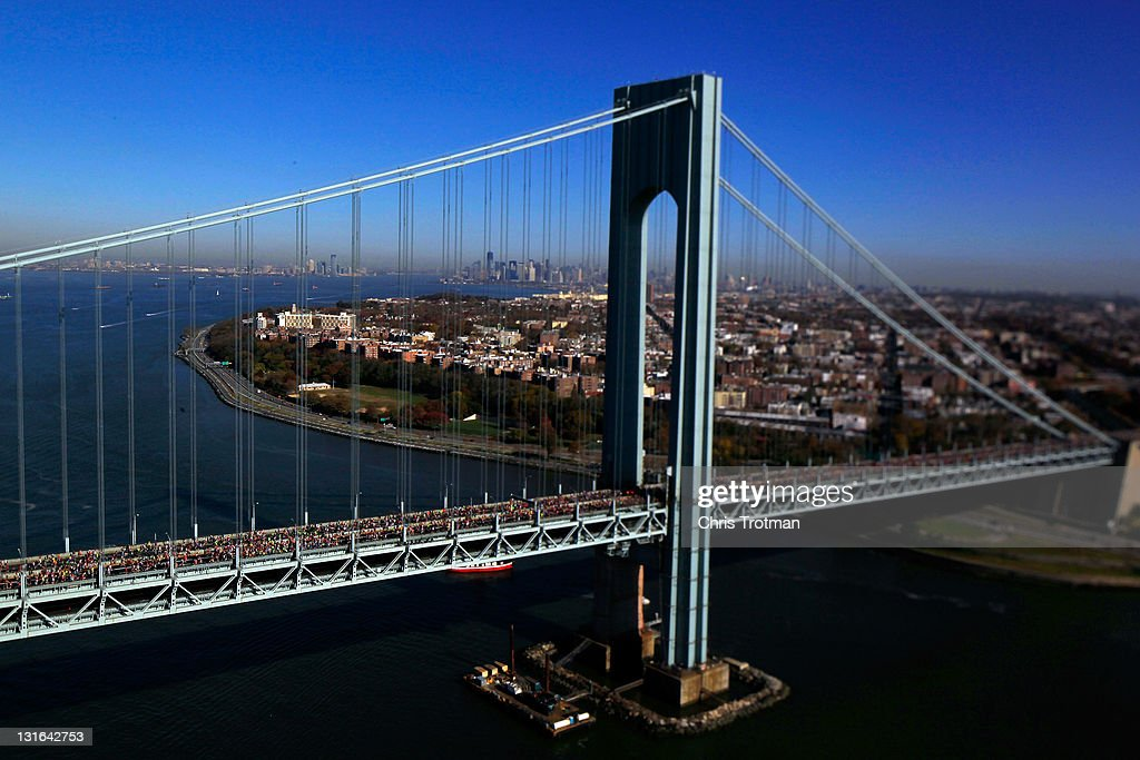 Runners cross the Verrazano-Narrows Bridge towards Brooklyn at the start of the ING New York City Marathon as seen from the air on November 6, 2011 in New York City.