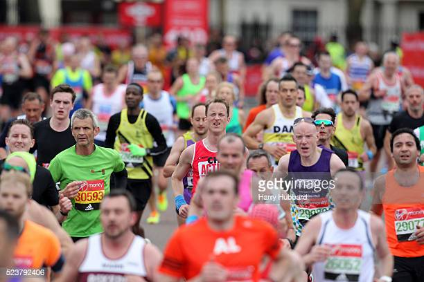 Runners during the Virgin Money London Marathon on April 24 2016 in London England