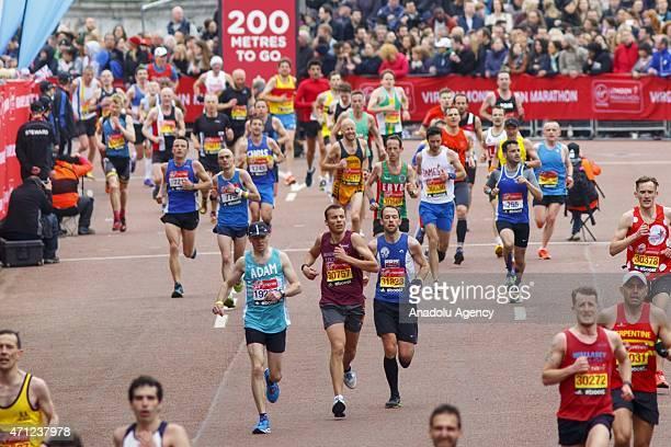 Runners finishing Virgin Money London Marathon race on April 26 2015 in London England