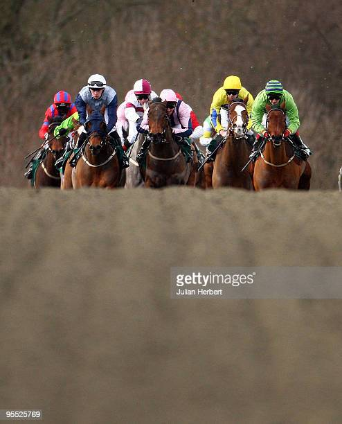 Runners head down the back straight during Division One of the Bet test match CricketBetdaq Handicap Stakes Race run at Lingfield Park Racecourse on...