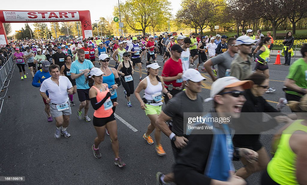 Runners head off from Mel Lastman Square, North York, in the Toronto Marathon.