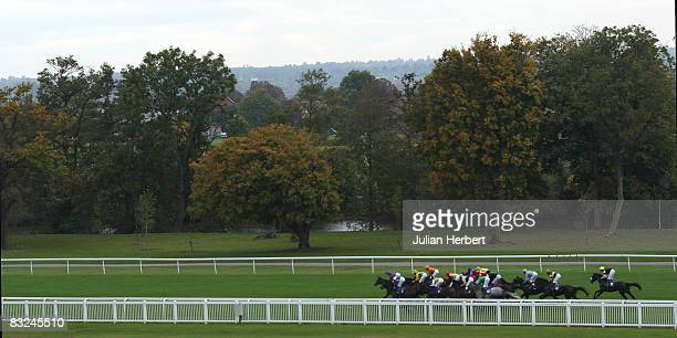 Runners head off from the start of The North Star Iver Cancer Research Fundraising Handicap Stakes Race run at Windsor Racecourse on October 13 in...