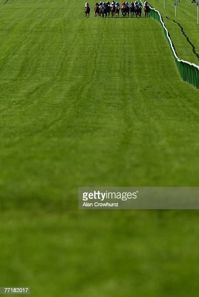 Runners head towards the dip on the Rowley Mile in The EBF Grand Prix White Turf St Moritz Maiden Fillies' Stakes at Newmarket Racecourse on October...