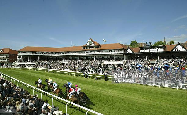 Runners head up the straight for the 1st time during The Huxley Stakes Race run at Chester Racecourse on May 6 2003 in Chester