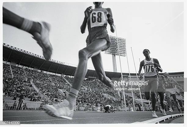Runners in action at the Lenin stadium for the Friendship Games which were held as a substitute for Los Angeles Olympic Games 'boycotting countries'...
