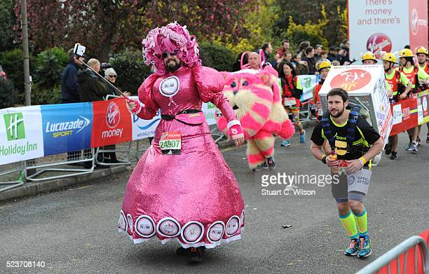 Runners in fancy dress start the Virgin London Marathon 2016 on April 24 2016 in London England