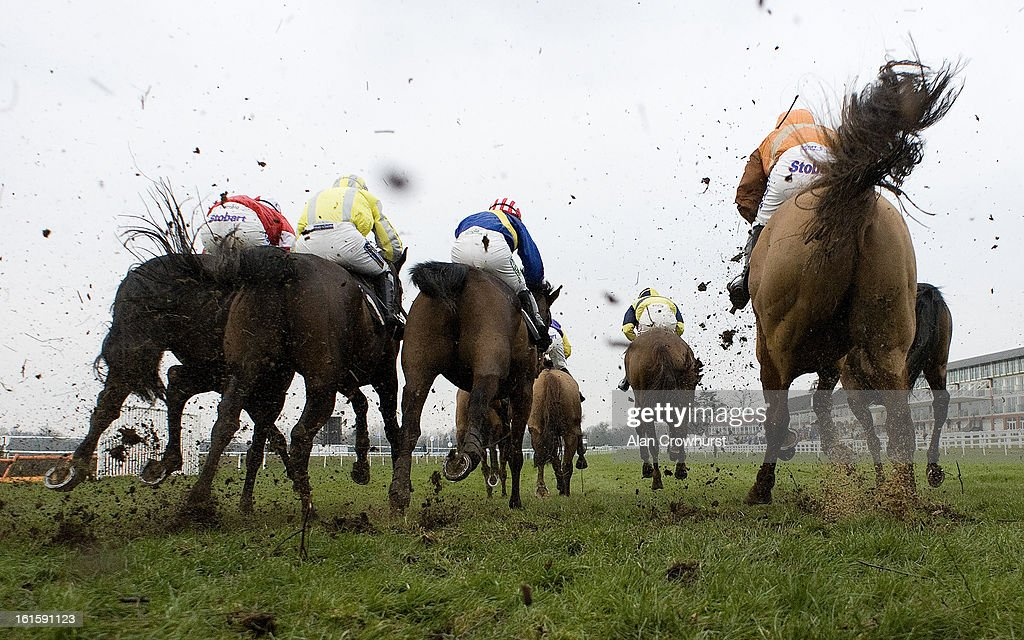 Runners in The Breathe Spa Lingfield Marriott Handicap Steeple Chase land after jumping a fence at Lingfield racecourse on February 12, 2013 in Lingfield, England.