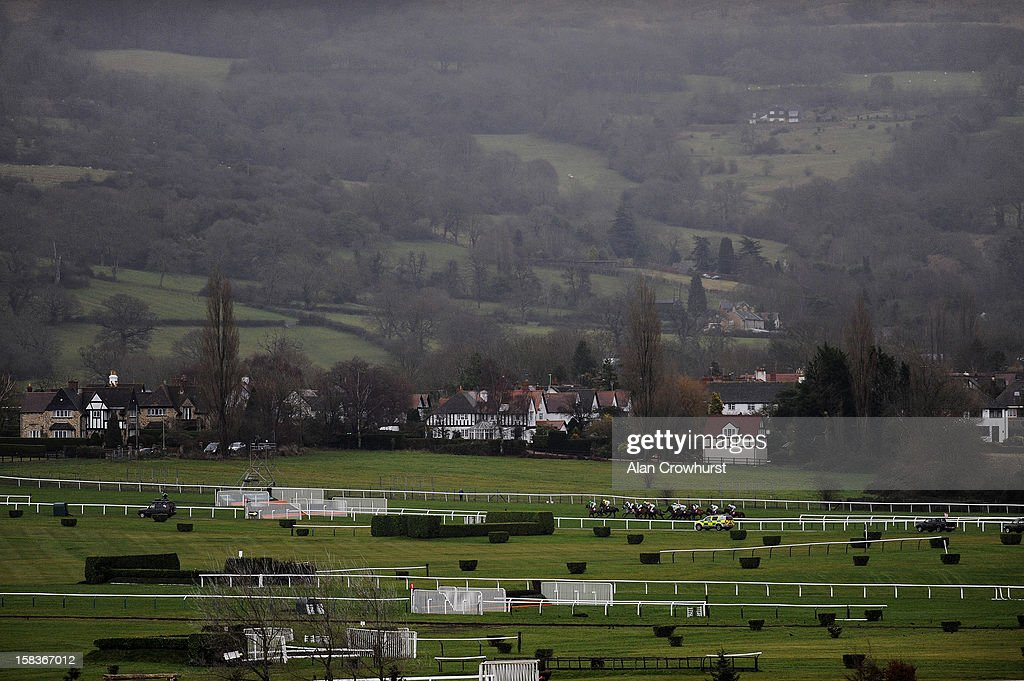 Runners in the CITIPOST Handicap Hurdle Race make their way out in the country at Cheltenham racecourse on December 14, 2012 in Cheltenham, England.