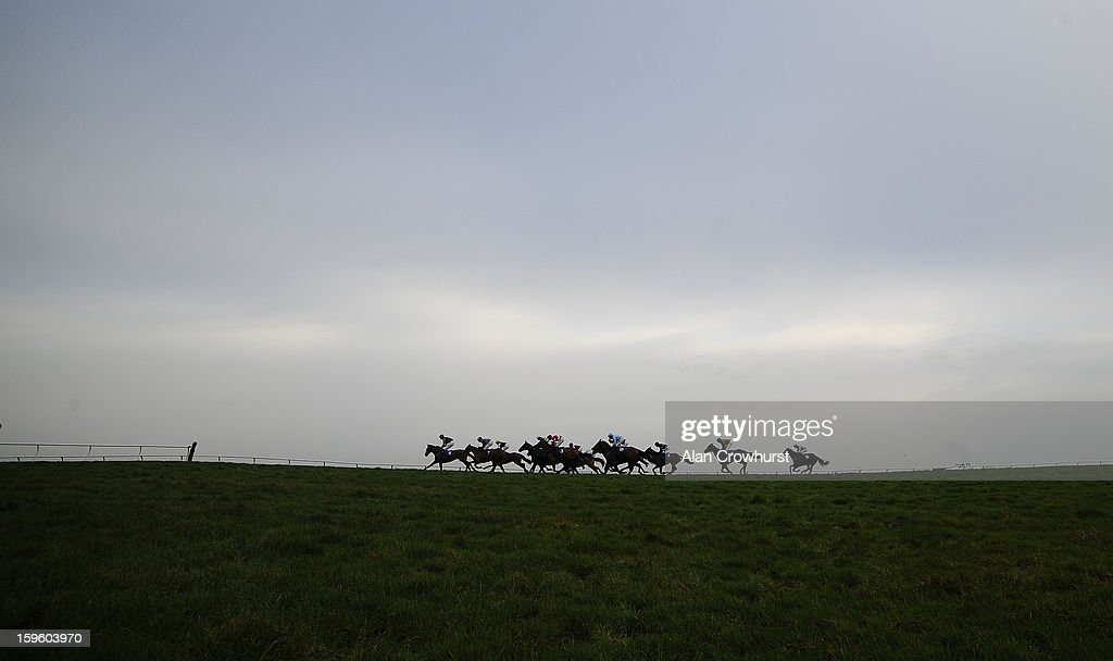Runners in The Higos Insurance Services Glastonbury Handicap Hurdle Race make their way down the back straight at Wincanton racecourse on January 17, 2013 in Wincanton, England.