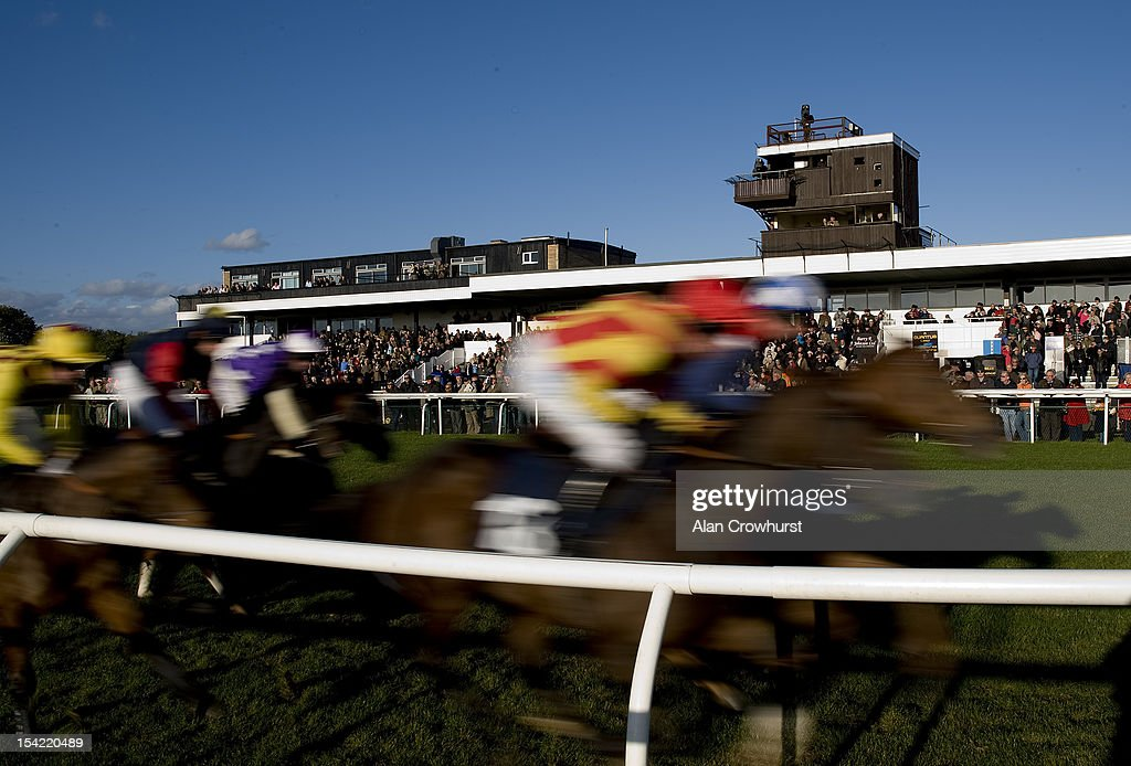 Runners in The Ingerbourne Valley Handicap Hurdle pass the grandstand at Huntingdon racecourse on October 16, 2012 in Huntingdon, England.