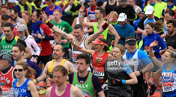 Runners in the mass start during the Virgin Money London Marathon on April 26 2015 in London England