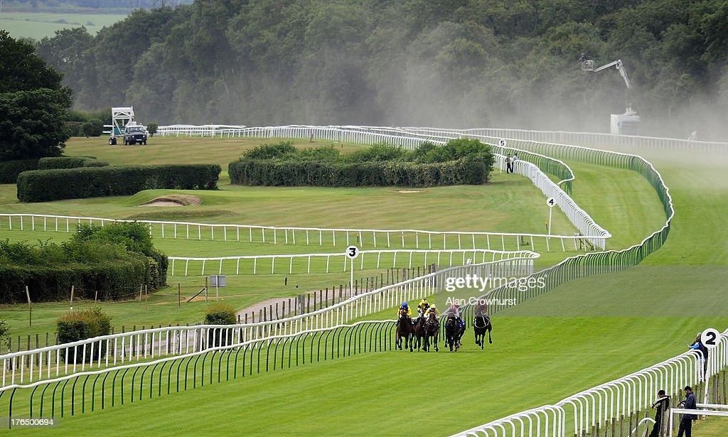 Runners in The Stevens Garnier Ltd Nursery Handicap Stakes make their way past the three furlong post at Salisbury racecourse on August 14, 2013 in Salisbury, England.