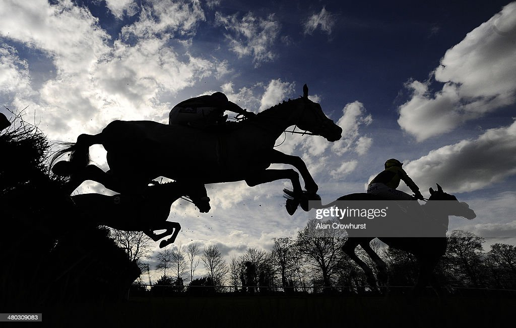 Runners in The Towcester Racecourse New Greyhound Track Devekopment Novices' Hurdle Race clear a flight of hurdles at Towcester racecourse on March 24, 2014 in Towcester, England.
