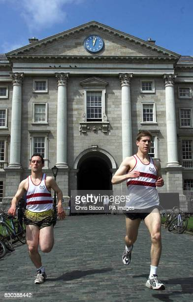 Runners Joe Rafferty and Lorcan Lyons running in the final of one of Dublin's oldest surviving sporting traditions the Chariots of Fire race The...