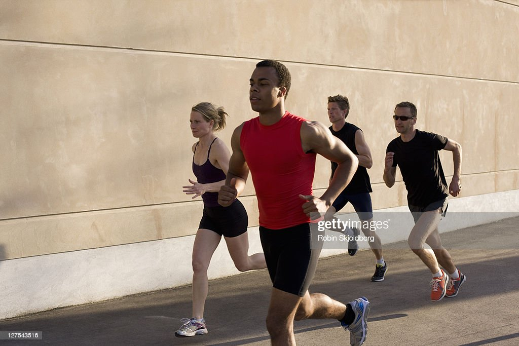 Runners jogging together
