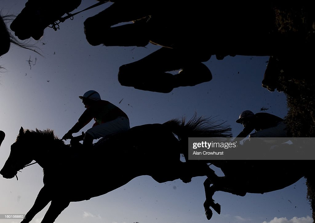 Runners jump a flight of hurdles in The Frank Conroy Memorial Maiden Hurdle at Leopardstown racecourse on January 27, 2013 in Dublin, Ireland.