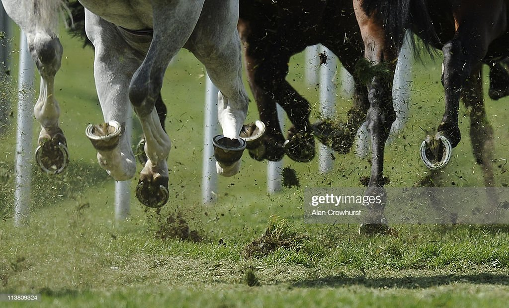 Runners kick up the loose grass at Chester racecourse on May 06 2011 in Chester England