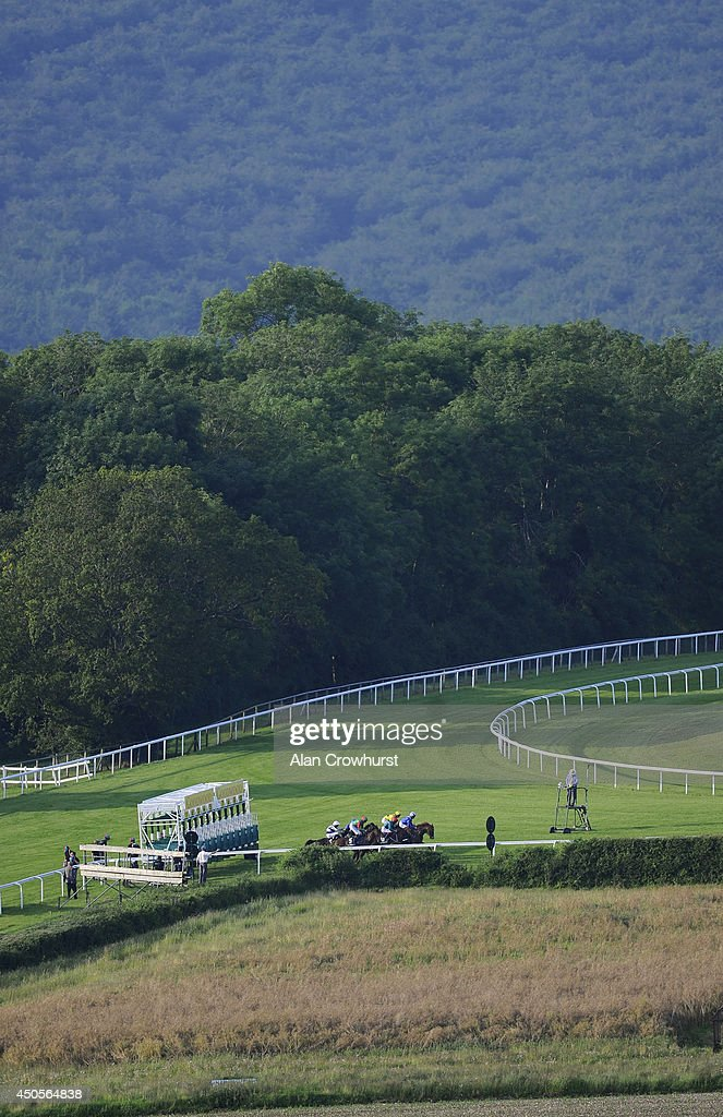 Runners leave the stalls in The Mazda Jinba Ittai Stakes at Goodwood racecourse on June 13, 2014 in Chichester, England.