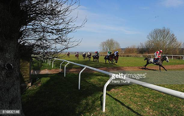 Runners make their way around the course during the CS Electircal Wholesale Termination Technology Novices Hurdle Race at Taunton Racecourse on March...