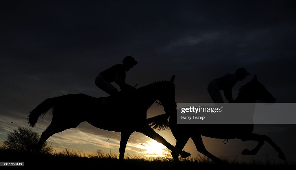 Runners make their way around the track during the Crestmoor Construction Handicap Chase at Wincanton Racecourse on December 7, 2017 in Wincanton, England.