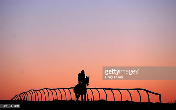 Runners make their way down to the start for the Bet 10 Get 30 at 188Bet Handicap Chase at Chepstow Racecourse on January 20 2017 in Chepstow Wales