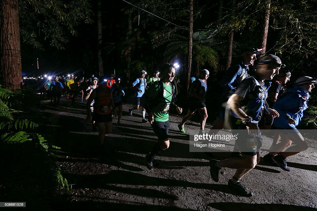 Runners make their way off the start line during the Tarawera Ultramarathon on February 6, 2016 in Rotorua, New Zealand.