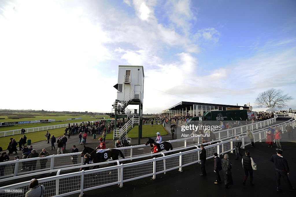 Runners make their way onto the track during the last meeting to be held at Hereford racecourse after 241 years of racing on December 16, 2012 in Hereford, England.
