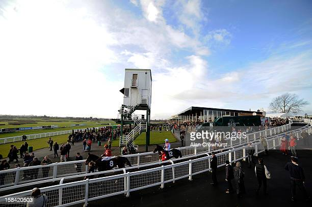 Runners make their way onto the track during the last meeting to be held at Hereford racecourse after 241 years of racing on December 16 2012 in...