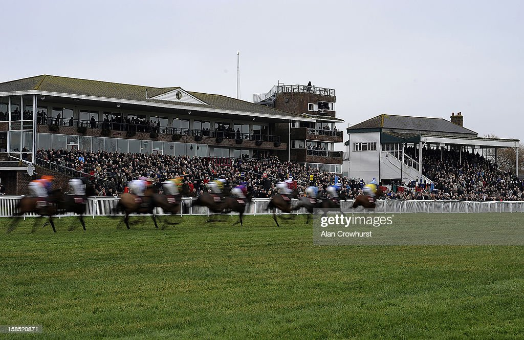 Runners make their way pass the grandstands during the last meeting to be held after 114 years of racing at Folkestone racecourse on December 18, 2012 in Folkestone, England.