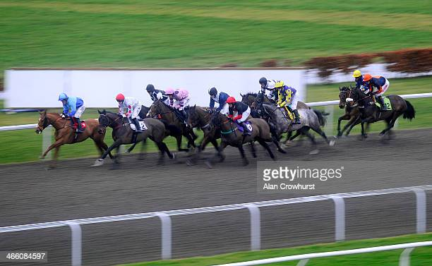 Runners make their way past the stands in The Mix Business With Pleasure National Hunt Flat Race at Kempton Park racecourse on January 31 2014 in...