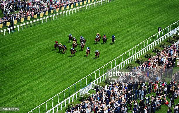 Runners make their way through the field during the Albany Stakes during Day Four of Royal Ascot 2016 at Ascot Racecourse on June 17 2016 in Ascot...