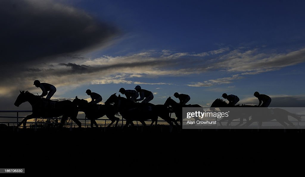 Runners make their way up the home straight at Carlisle racecourse on November 03, 2013 in Carlisle, England.