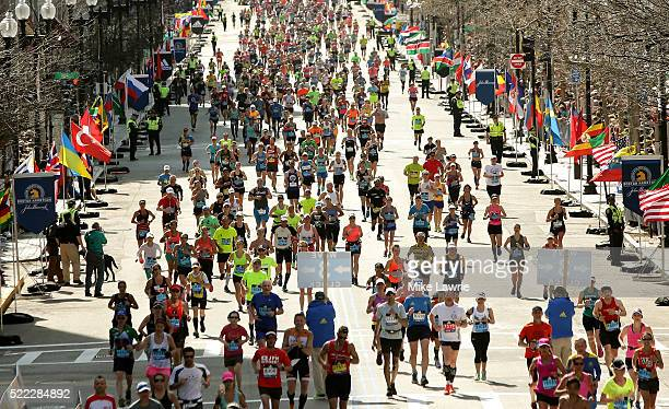 Runners near the finish line on Boylston Street during the 120th Boston Marathon on April 18 2016 in Boston Massachusetts