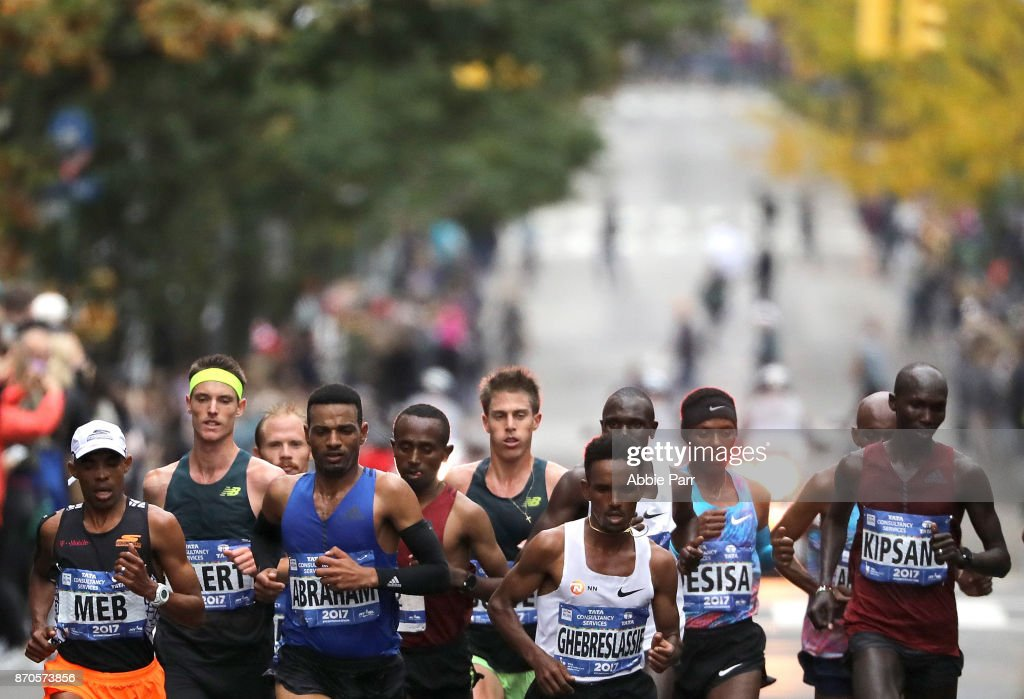 Runners of the Professional Men's Division lead the field during the 2017 TCS New York City Marathon on November 5, 2017 in New York City.