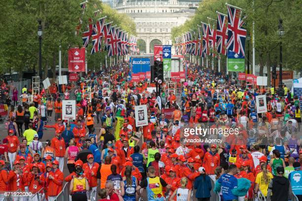 Runners post finish line area of Virgin Money London Marathon in London England on April 23 2017