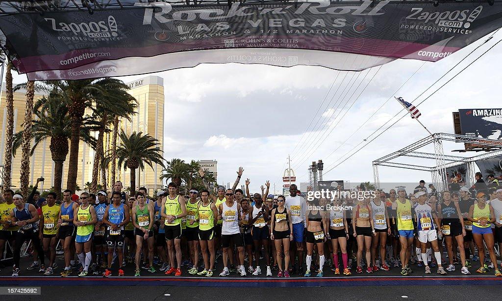 Runners prepare to race on the Las Vegas Strip for the Zappos.com Rock 'n' Roll Las Vegas Marathon on December 2, 2012 in Las Vegas, Nevada.