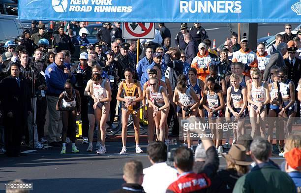 Runners preparing for the Women's Start of the 2004 ING New York City Marathon Fort Wadsworth Statan Island NY