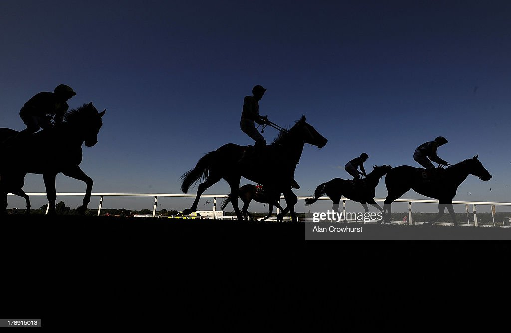 Runners pull up after finishing The Betfred Goals Galore Handicap Stakes at Sandown racecourse on August 31, 2013 in Esher, England.