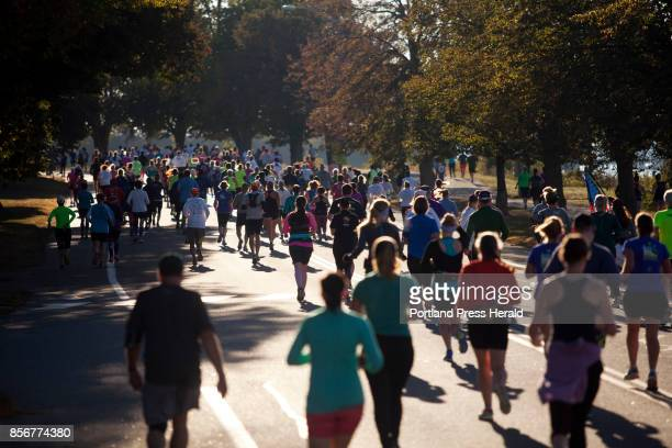 Runners race along Baxter Boulevard during the Maine Marathon in Portland on Sunday October 1 2017