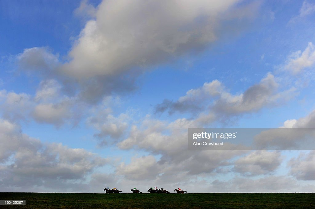 Runners race along the back straight in The Carolyn Brown Celebration Veterans' Handicap Steeple Chase at Wincanton racecourse on January 31, 2013 in Wincanton, England.