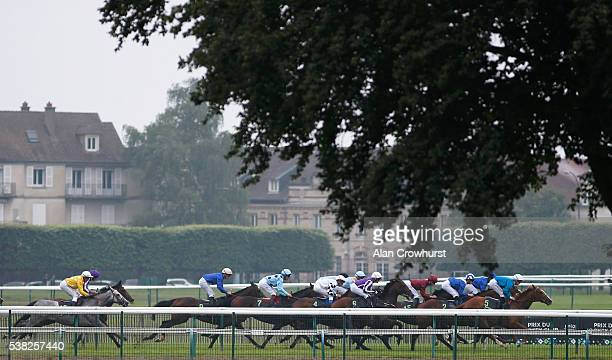Runners race down the back straight at Chantilly racecourse on June 5 2016 in Chantilly France
