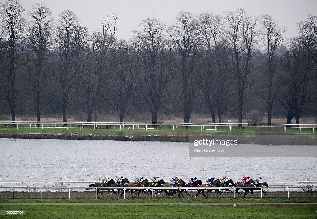 Runners race down the back straight in The BetVictor Cheltenham Festival Antepost 'Jumpers' Bumper' National Hunt Flat Race at Kempton racecourse on January 25, 2013 in Sunbury, England.