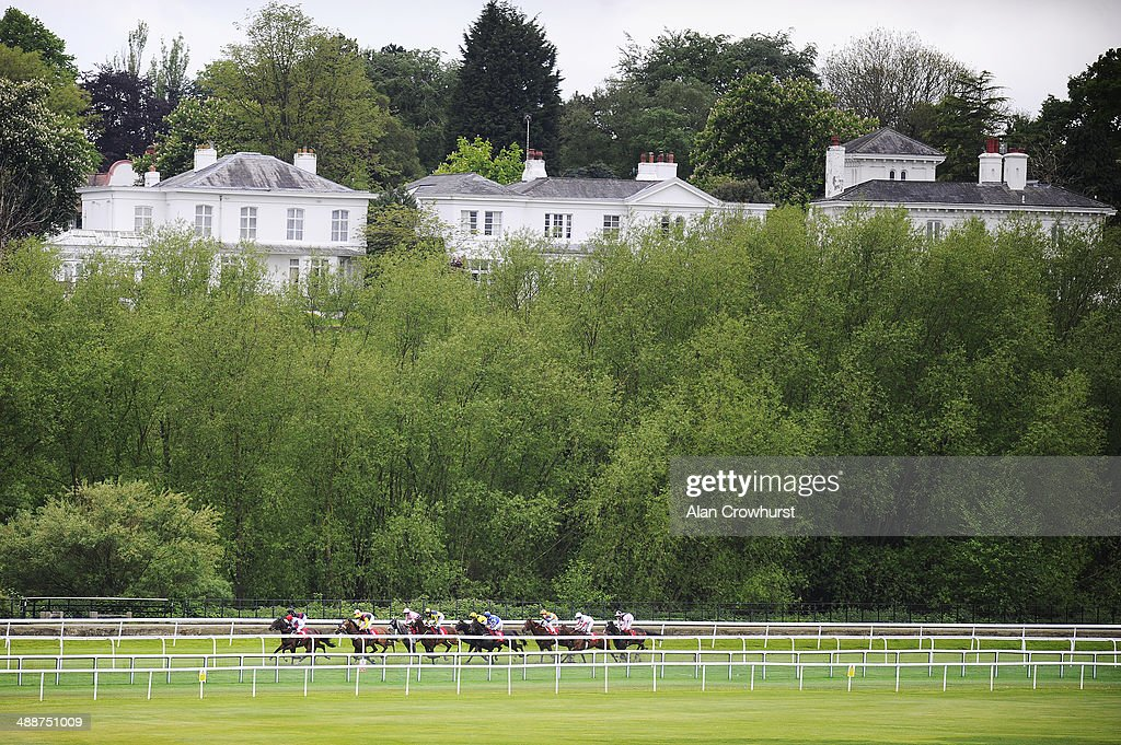 Runners race down the back straight in The IG Handicap Stakes at Chester racecourse on May 08, 2014 in Chester, England.