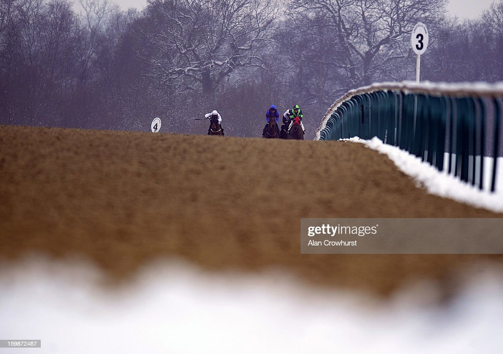 Runners race down the side of the track in The Stay At The Marriott Hotel Selling Stakes at Lingfield racecourse on January 22, 2013 in Lingfield, England.