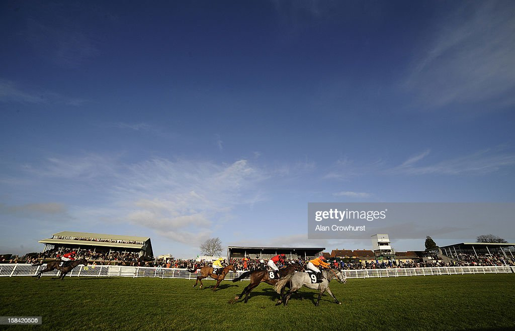 Runners race towards the finish in The Free Radio Novices' Hurdle Race during the last meeting to be held at Hereford racecourse after 241 years of racing on December 16, 2012 in Hereford, England.