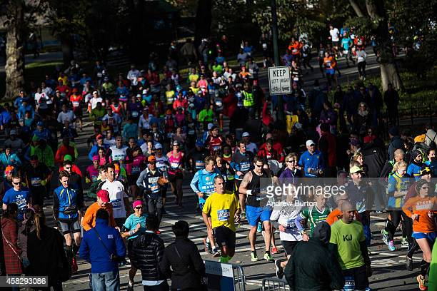 Runners run through Central Park during the TCS New York City Marathon on November 2 2014 in New York City