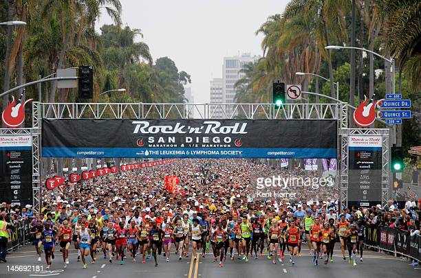 Runners start the 15th annual Rock 'n' Roll Marathon to benefit the Luekemia Lymphoma Society on June 3 2012 in San Diego California