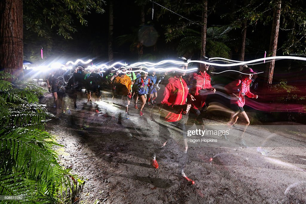 Runners start the during the Tarawera Ultramarathon on February 6, 2016 in Rotorua, New Zealand.