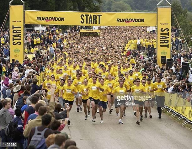 Runners start their run during the Nike 10km Run in Richmond Park London on September22 2002